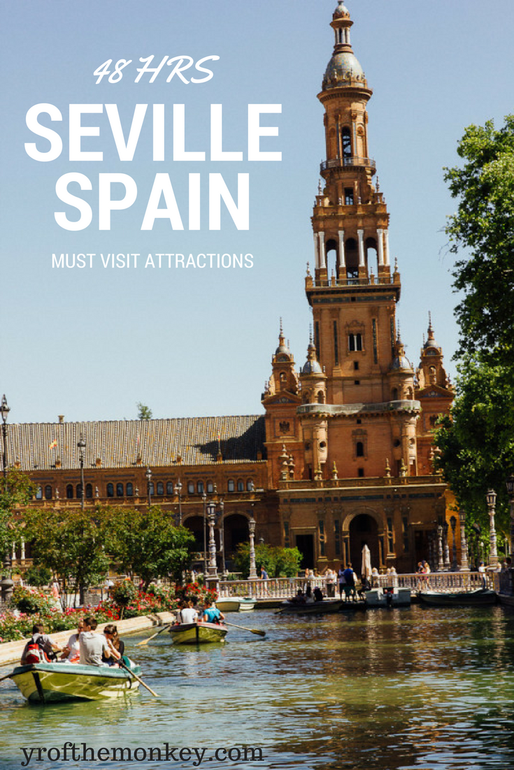 Read this Seville attractions guide to plan your two day trip to Spain's darling southern city! This 48 hours in Seville guide is perfect for your Spain vacation and lists the major attractions that you must not miss if you are in a time crunch! Pin this to your Europe or Spain board for reference! #spain #seville #europe #spainvacation #touristattractionsinspain
