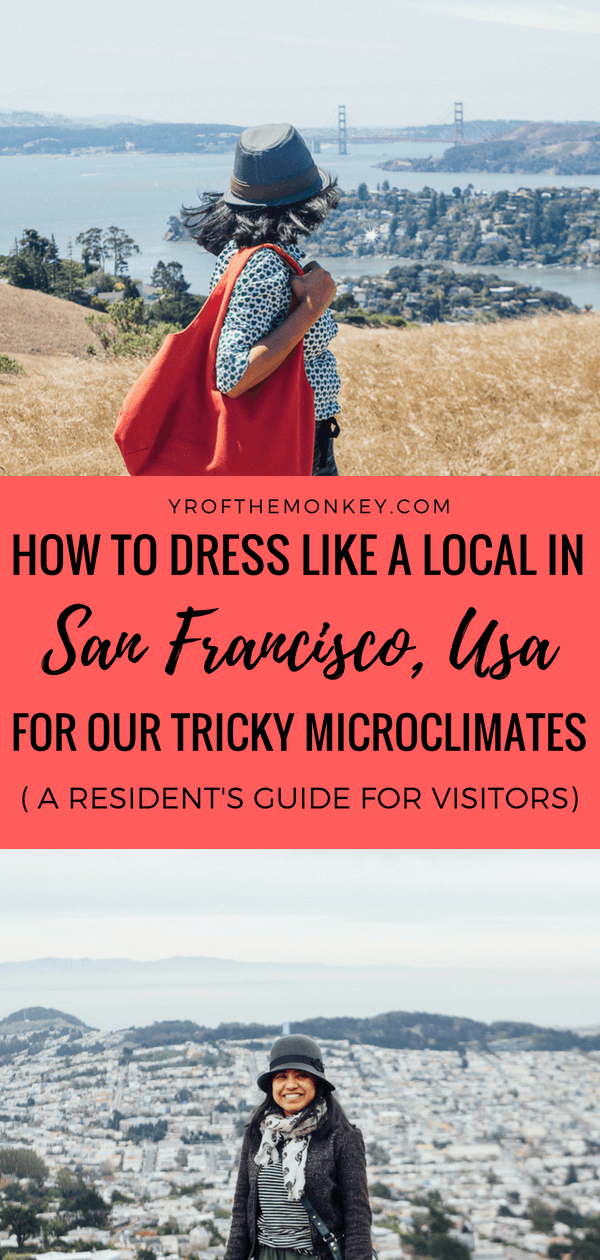 What to wear in San Francisco, California is your guide to navigating the tricky microclimates of this unique city and dressing like a local. This SF resident's guide will help first time visitors to be prepared for our unique weather pattern and help avoid common mistakes made by tourists. #sanfrancisco #california #usa #sfstreetstyle #dresslikealocal