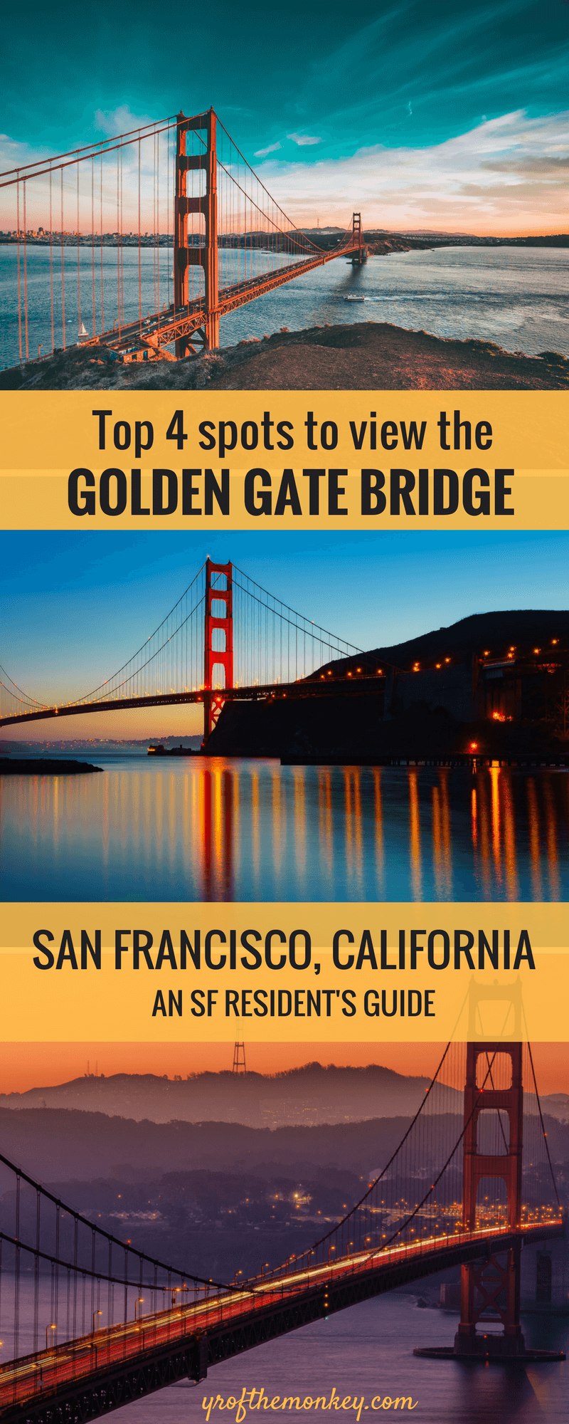 Where can you find the best views of the Golden Gate Bridge, San Francisco, California, USA? This local's guide tells you the BEST four spots to get the most sweeping views of the iconic Golden Gate bridge from in and around San Francisco, Bay Area. Read this insider guide to know the local's secret spots and pin it to your California travel board now! A must read for photographers! #bayarea #californiatravel #california #sanfrancisco #USA #goldengatebridge #northamerica