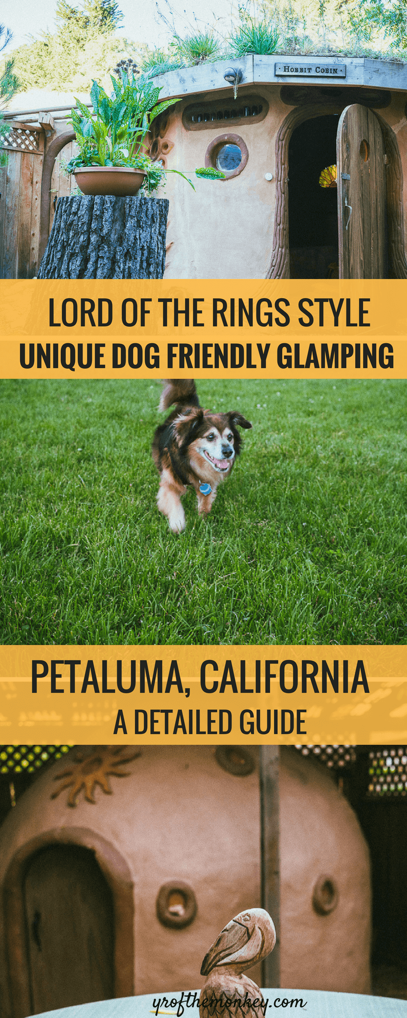Looking for pet friendly glamping Bay Area California USA options? This post tells you about dog friendly glamping, lord of the rings movie style in Hobbit Cobin, Petaluma, Sonoma county. This Hobbti Cobin is ecofriendly and sustainable travel and welcomes well behaved dogs. Other activities include dog friendly restaurants, dog friendly hiking and dog friendly parks. Pin this to your pet travel boards today! #california #dogfriendlycamping #dogfriendlyglamping #glamping