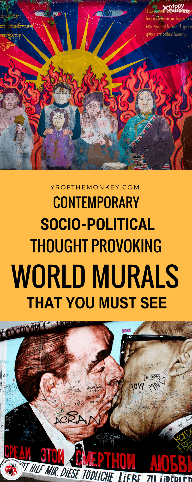 Art from the streets is a series of contemporary murals from all over the world that have socio-political messages. These thought-provoking murals are a must see by all art lovers and travelers! Pin it to your travel art board for future reference #streetart #murals #graffiti #streetarttour