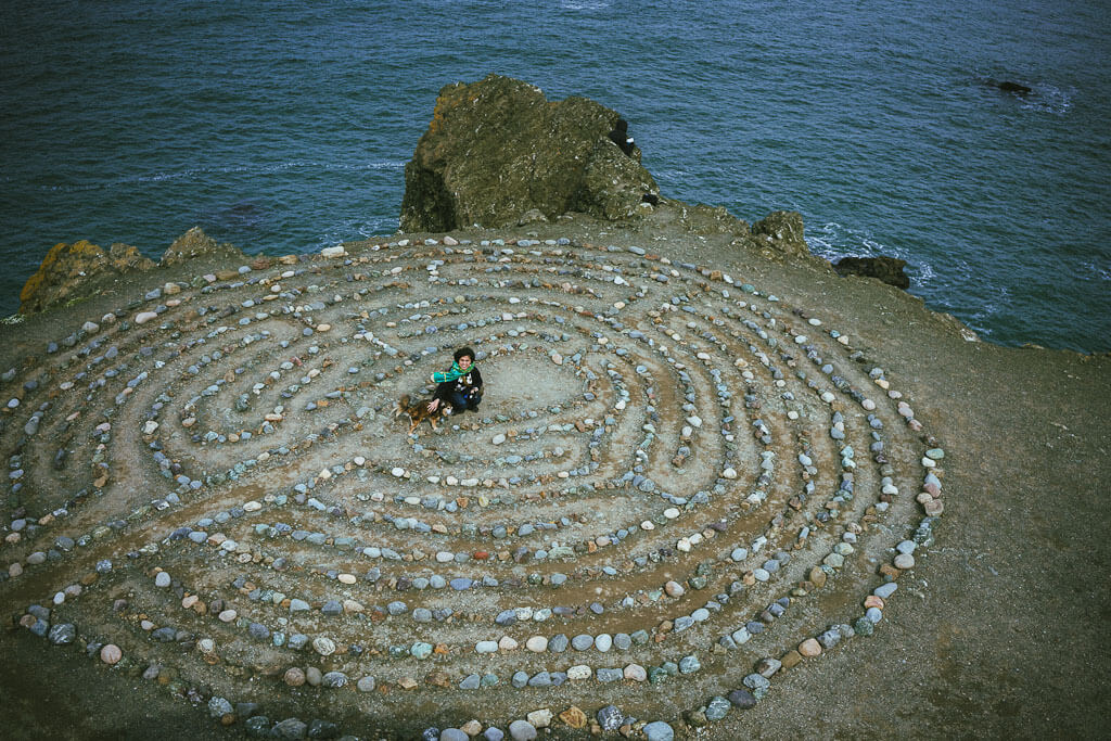 The famous Land's End Labyrinth at one end of the coastal trail