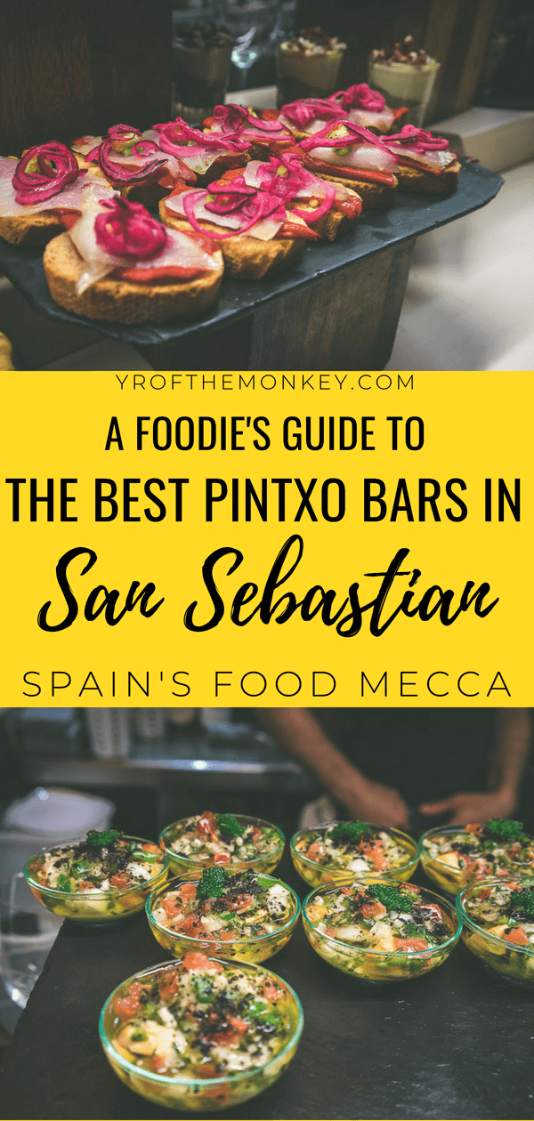 This is a guide to finding the best pintxos in San Sebastian, Spain and includes a self guided tour of the best pintxo bars in old town with tips on how to order pintxos in crowded bars. Also includes a mini guide to Michelin star restaurants and a free map of the best places to eat in San Sebastian. #sansebastian #basquecuisine #spain #europe #foodie #foodieguide #pintxos #pintxobars