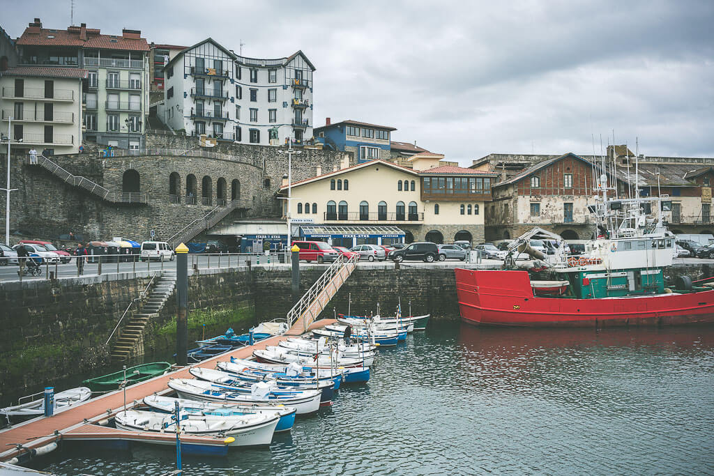 Harborside of Getaria, a Basque fishing village in Spain