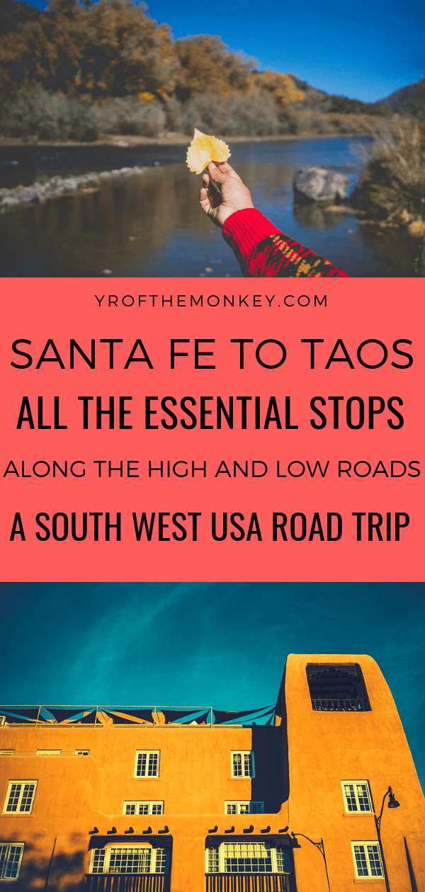 Santa Fe to Taos is one of the most gorgeous road trips in USA to embark on, especially in Fall, spring and even winter! This comprehensive post covers the best spots to visit on both the high and low roads from Santa Fe to Taos and back in New Mexico. Covers the famous Taos Pueblo, Rio Grande Gorge bridge and an adorable alpaca farm! #santafe #taos #newmexico #USA #southwestamerica #roadtrip