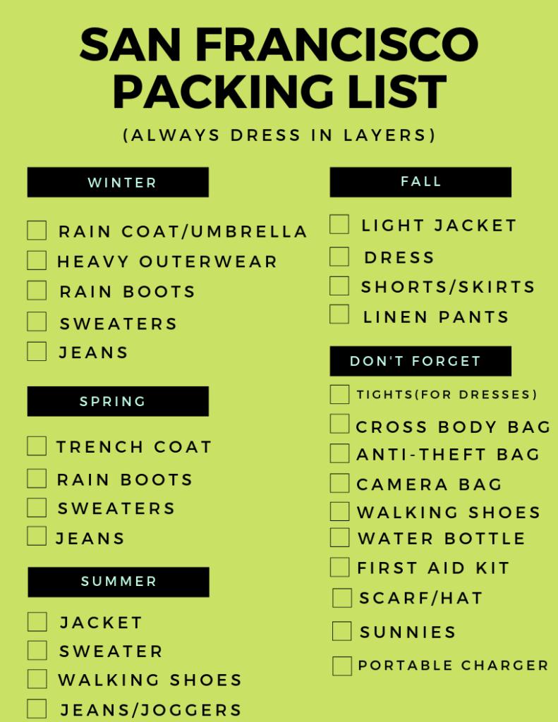 San Francisco packing list cheat sheet