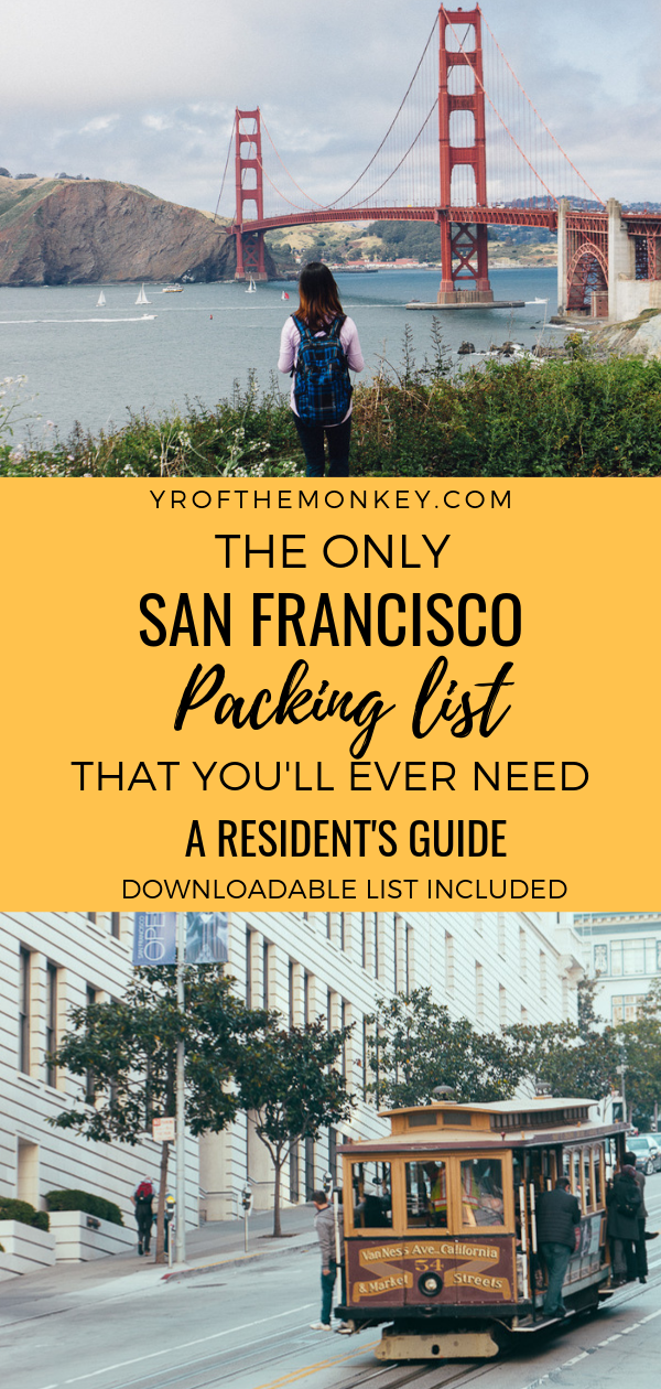 Visiting San Francisco, USA and have no idea about what to pack for our tricky microclimates? As a SF resident, I have curated the perfect guide for you on what to pack for San Francisco to be well prepared for our very un-California like weather! Pin this San Francisco packing list to your California or USA board now. #sanfrancisco #USA #California #packinglist #whattowearinSF #streetstyle