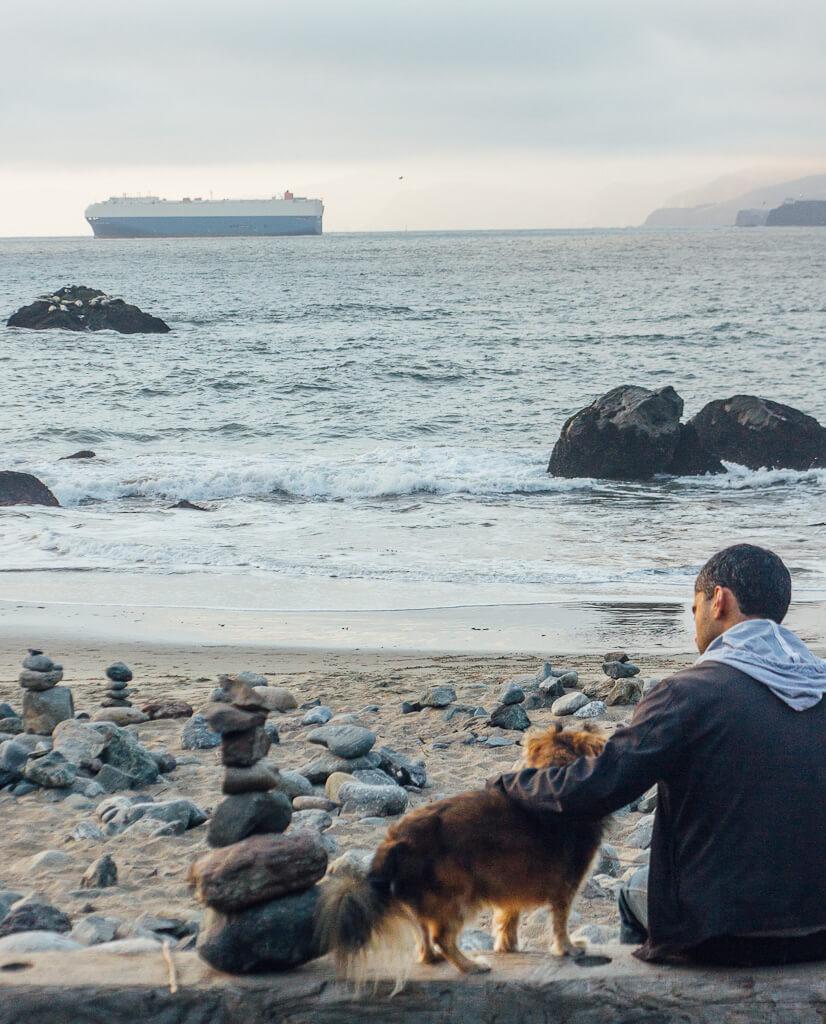 hidden beaches in San Francisco-mile rock beach at Land's End