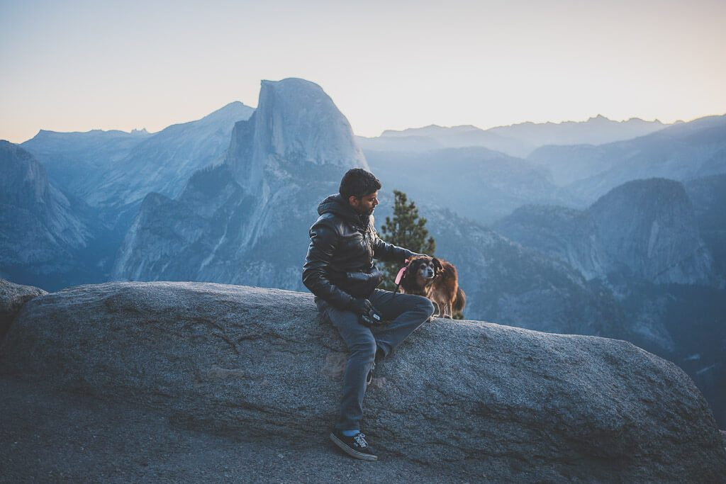Glacier point is a dog friendly spot in Yosemite