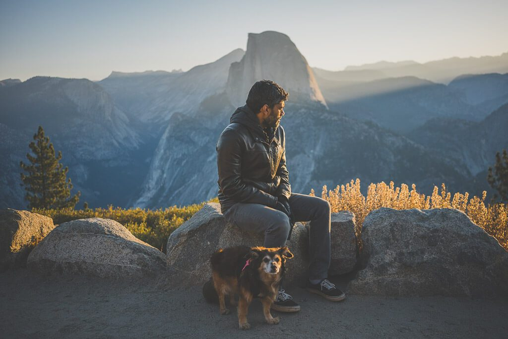 watching the sunrise from Glacier point, a dog friendly spot in Yosemite