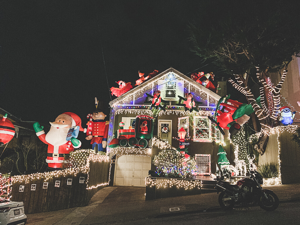 Holiday lights and Christmas decor in San Francisco