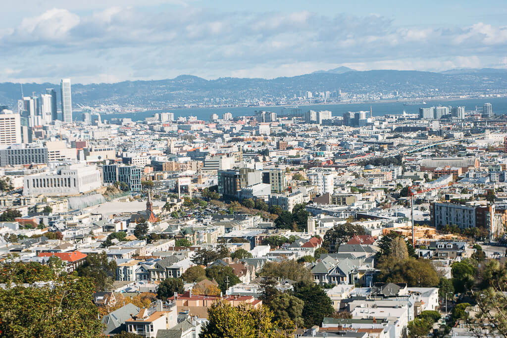 View from top of Corona Heights park, one of the most scenic hikes in San Francisco