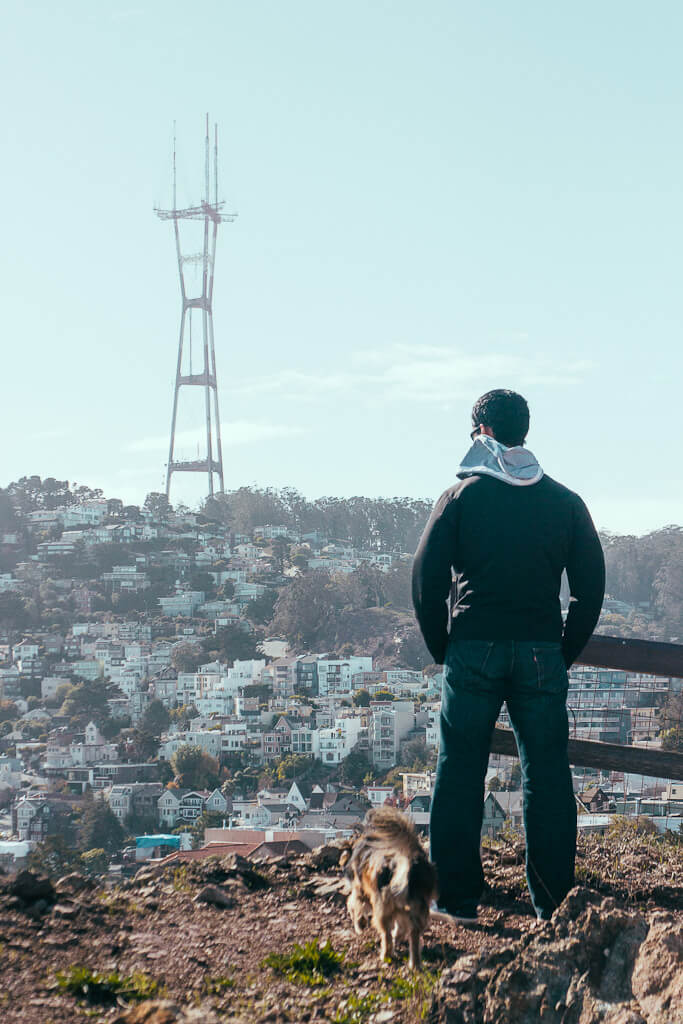 Corona Heights Park hiking with dogs in San Francisco, dog friendly hikes in Bay Area