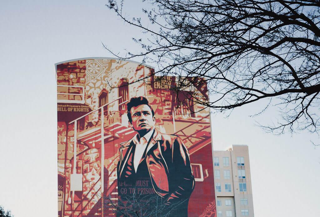 Shepard Fairey Johnny Cash Mural in Midtown Sacramento