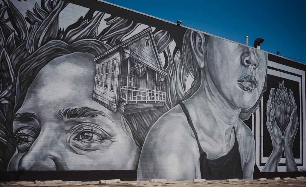 Paola Delfin mural in Sacramento, wide open walls