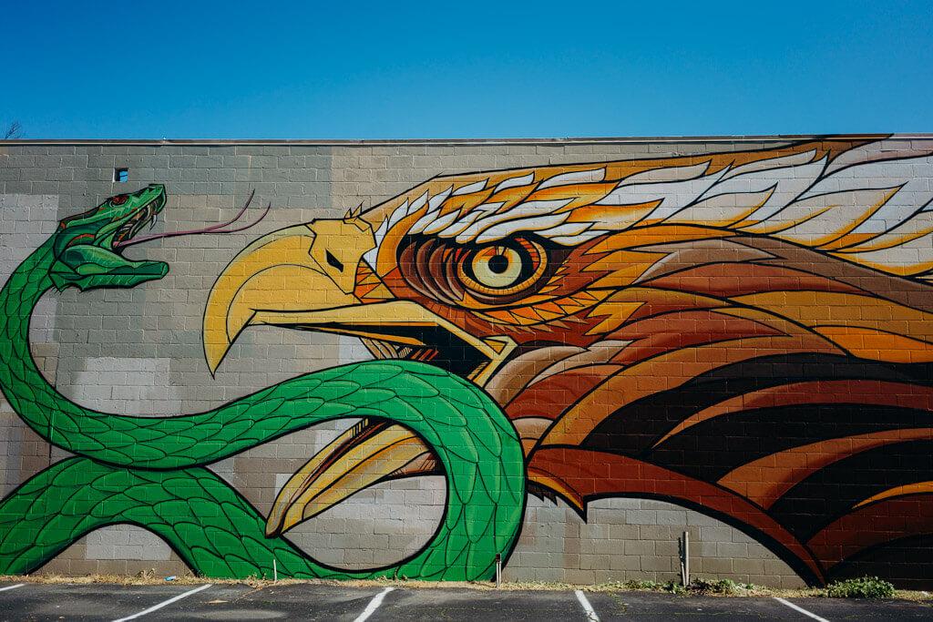 Raphael Delgado Mural Eagle and Snake