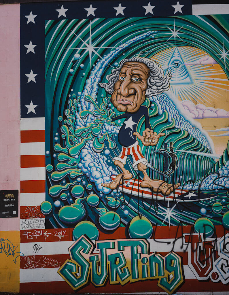 Surfing mural by Roy Gonzalez