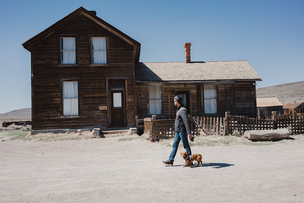 Exploring the Ghost town of Bodie in Mono County, California with dogs, dog friendly Bodie town