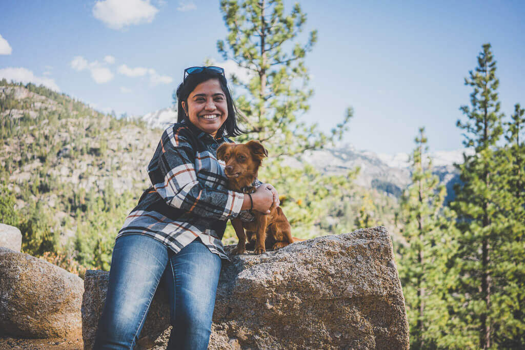 Woman and dog at Sonora Pass in Mono County, California