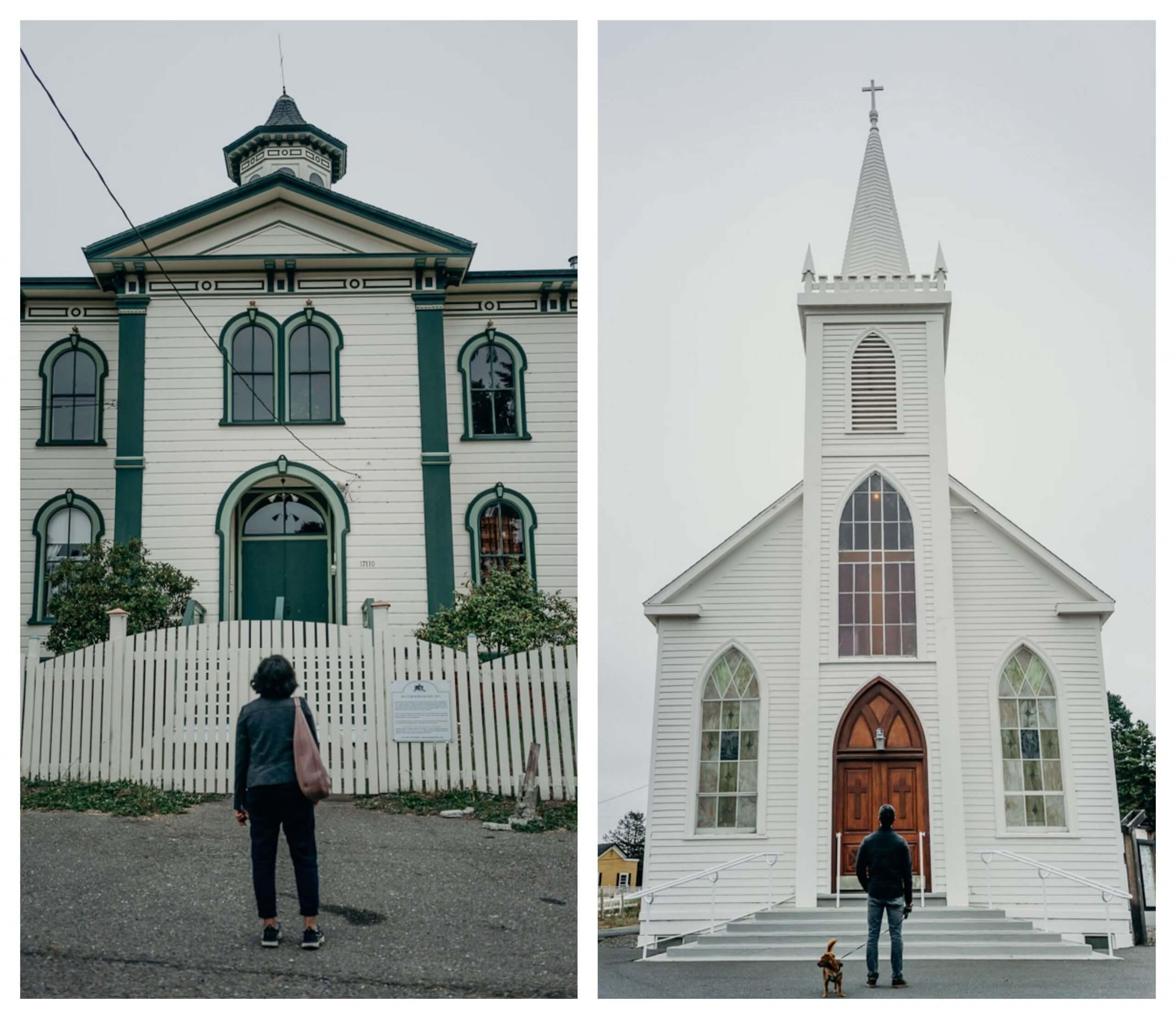 Potters High School and St. Teresa of Avila Church in Bodega